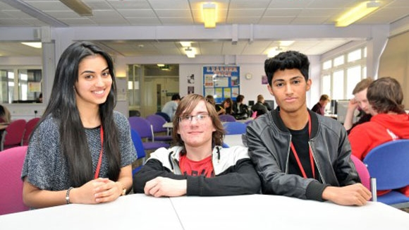 Rahila, Rhys and Mohammed in the study base at Barnsley Sixth Form College