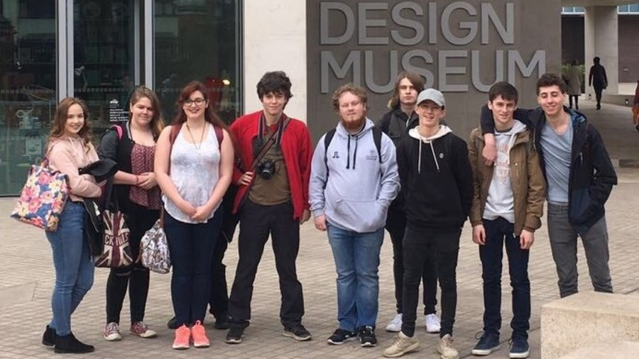 Students outside the Design Museum