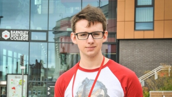 Callum outside the Sixth Form College.