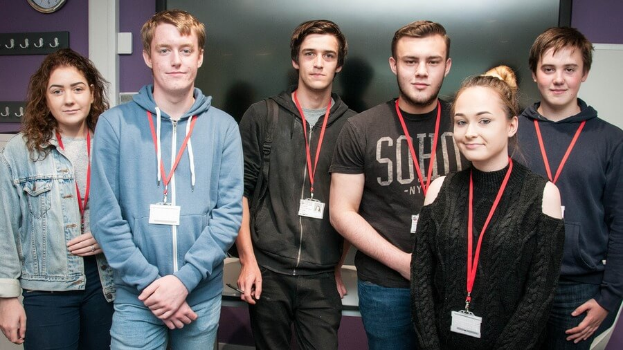 (Left to right): Students Ellie Prince, Daniel Smith, Callum Mcguigan, Declan Acutt, Chloe Johnson and Keiran Craven, who all completed the Access to A Levels programme in 2016/17.