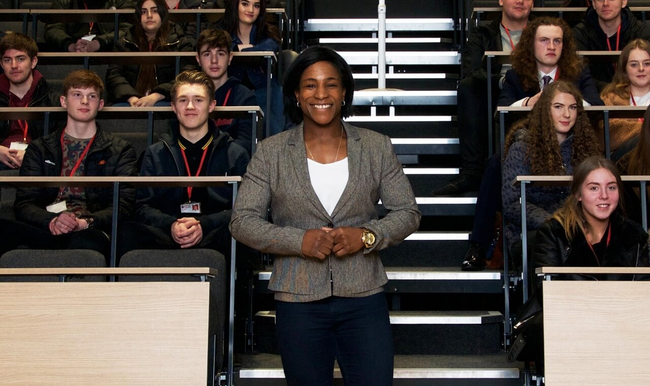 Rugby World Cup winner, Maggie Alphonsi, speaking at Barnsley Sixth Form College for International Women's Day.