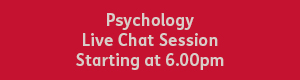 white text that reads 'psychology live chat session starting at 6pm' on a red background
