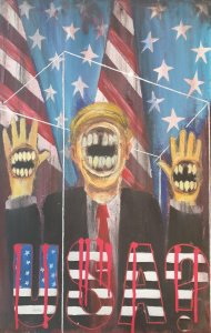 A depiction of donald trump with his hands up - his face and hands are all obscured by yelling mouths. Blood soaked letters read 'USA?' and the American flag hangs in the background