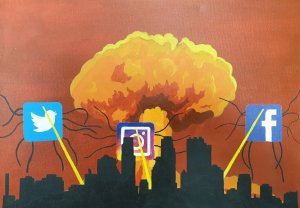 A town being attcked by tentacled aliens bearing the facebook, instagram and twitter logos. It is exploding into a mushroom cloud
