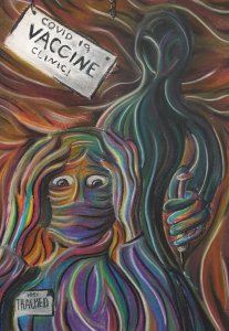 a scream-style painting of a mask-wearing figure with their hands on their head in dispair, flanked by a hooded figure with a needle next to a sign that says 'COVID 19 Vaccine clinic'
